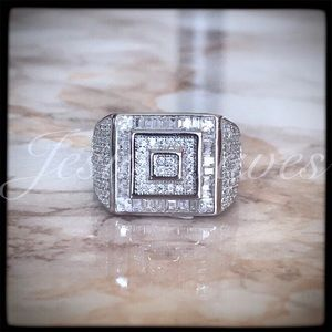 Men's Sterling Silver 925 CZ Micro Pave Ring